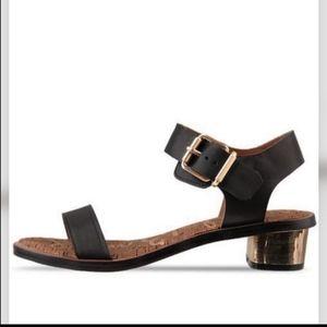 Sam Edelman Trina Sandals Gold Metallic Heel Black